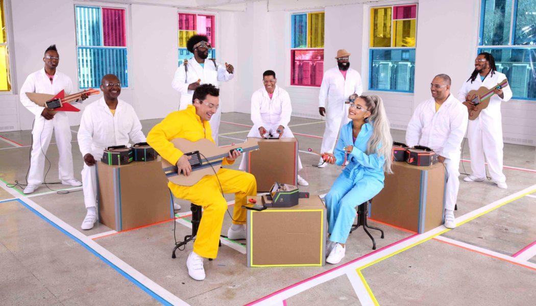 Ariana Grande performing on Jimmy Fallon Tonight using Nintendo Labo Instruments
